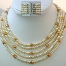 EXcellent 5 strands 17-21'' CULTURED PEARL FW NECKLACE