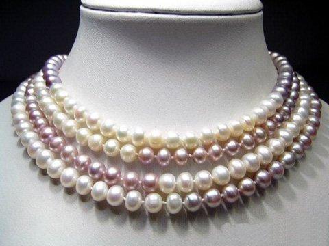 Elegance 64'' white lavender cultured pearls necklace