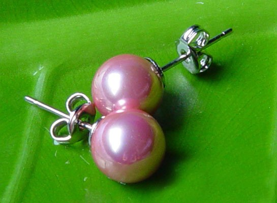 Excelent 10mm pink sea shell PEARL Earring 14K