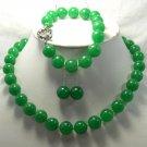 Excellent 12mm green Jade Necklace & bracelet & earring