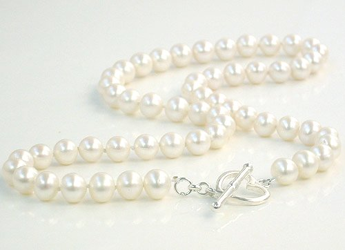 Excelent 16'' 7-8mm white Cultured Pearl Necklace 925S