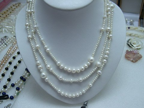 Excelent 16-18'' 3row White Cultured Pearl Necklace