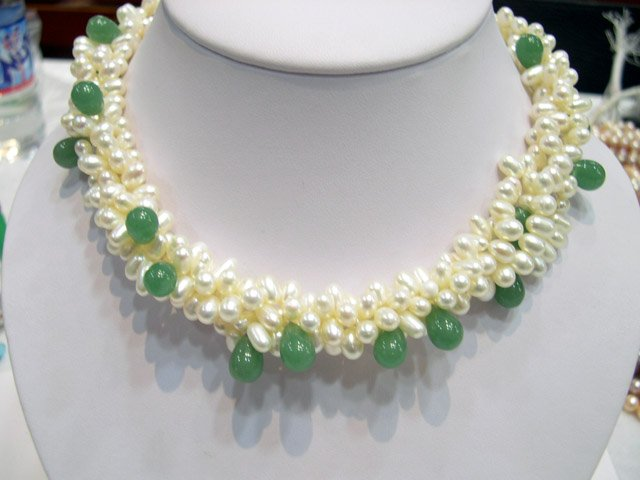 Excelent 17'' 5row white Cultured Pearl & jade Necklace