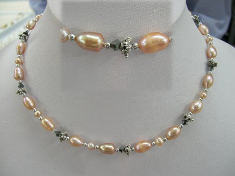 Excelent 17'' pink Fw Cultured Pearl & crystal Necklace