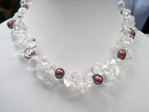 Excelent 17'' white crystal & pearl Necklace