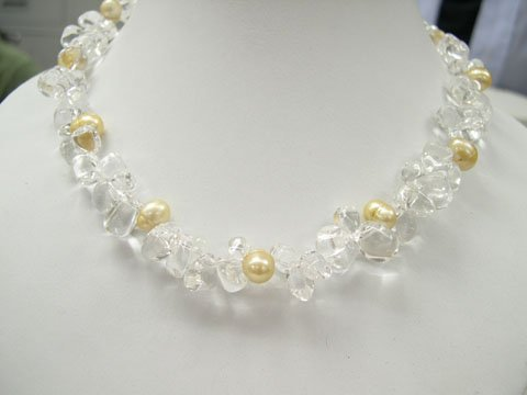Excelent 17'' white crystal & yellow FW pearls Necklace
