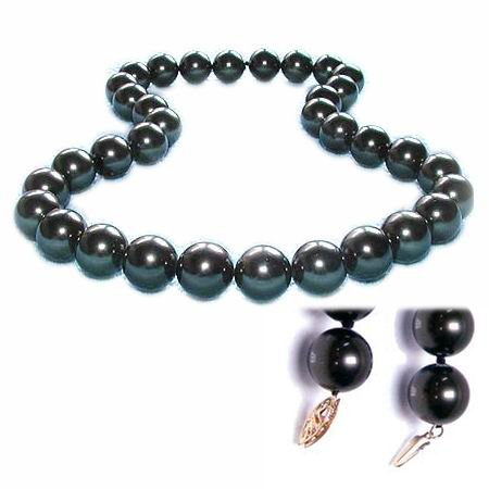 Excelent 18'' 12mm Tahitian black shell Pearl Necklace