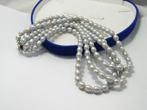Excelent 3 stands 6-7mm silver FW culture pearl necklace