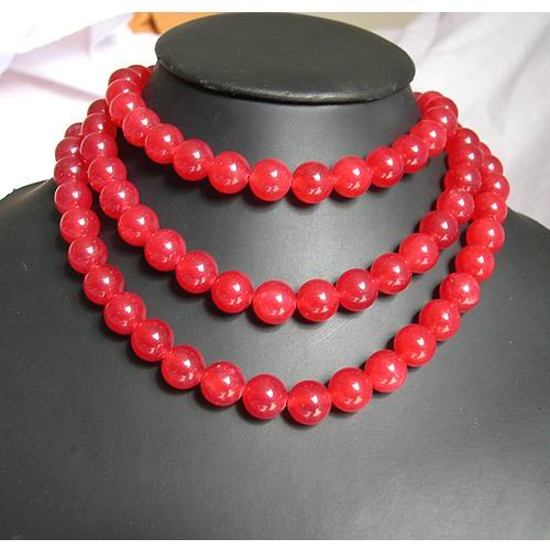 Excellent 48'' 12mm Red Jade beads Necklace