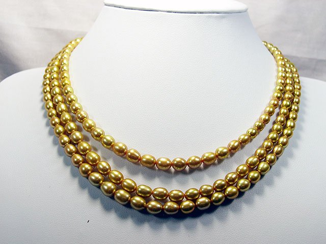 Excelent 6-7mm 3rows 16-18'' Golden Pearl Necklace
