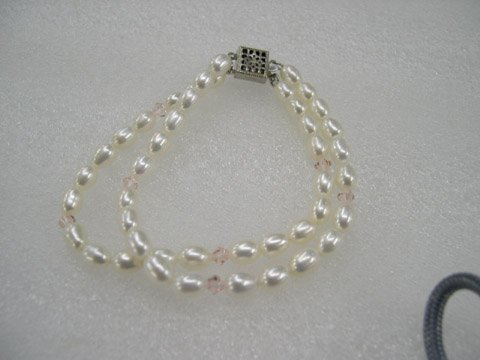 Excelent 7.5'' 2 rows white Cultured Pearl bracelet
