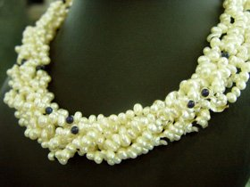 Excelent 8rows 5-6mm Cultured Pearl Necklace 925s