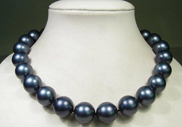 Excellence 14mm Dark blue south seashell Pearl necklace