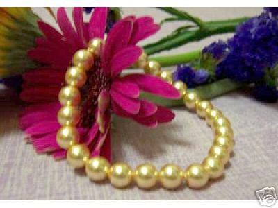 Excellence 8MM GOLD SOUTH SEA SHELL PEARL BRACELET