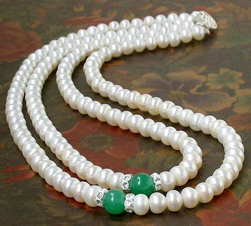 Excellent 2row WHITE CULTURED PEARL & JADE NECKLACE 925