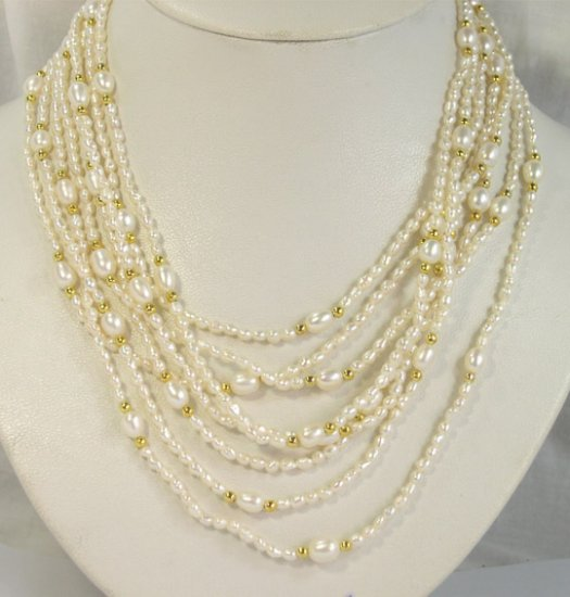 Excellent 3-8mm 8rows white Cultured Pearl Necklace