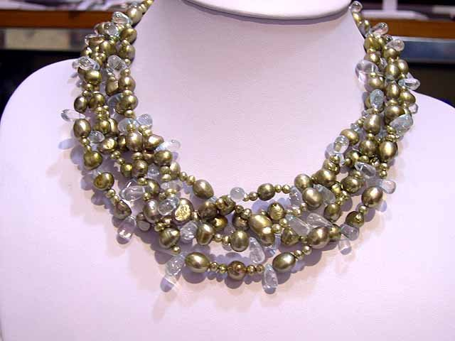 Excellent 5rows Cultured Pearl & crystal NECKLACE 925s