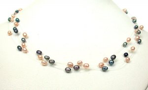 FANCY 5 LINE REAL PEACH & BLACK PEARL NECKLACE