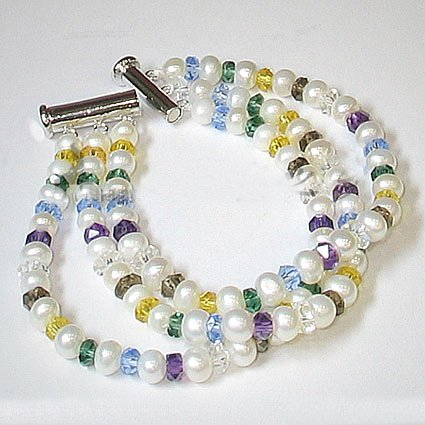 Flowery 3rows white cultured pearl & crystal bracelet 925