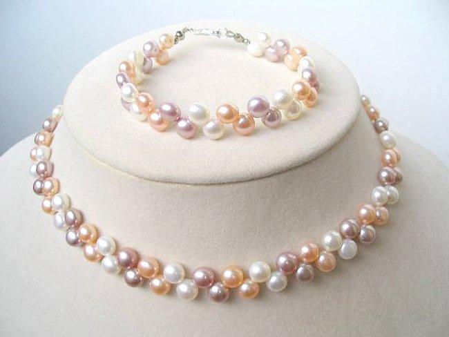 Flowery multicolor cultured pearl Necklace & Bracelet