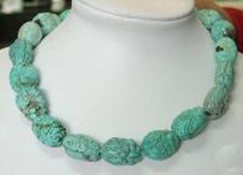 GORGEOUS 16'' NATURAL OLD BLUE TURQUOISE CARVED NECKLACE