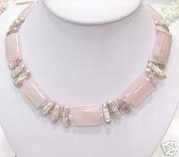 HUGE 17'' strand BIWA cultured pearl & pink jade Necklace