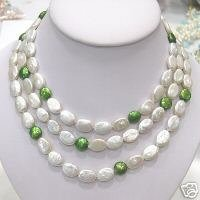 HUGE 9-13MM 3ROW 2-COLOR COIN cultured pearl Necklace