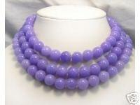 Huge 3row 12mm Purple Jade beads Necklace 925S