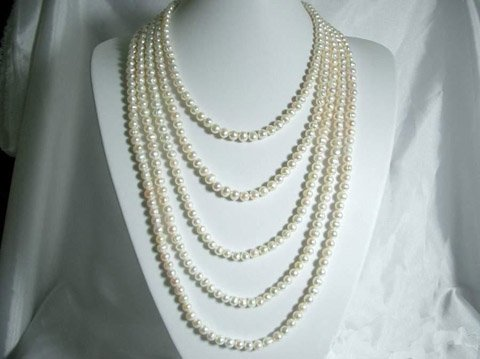 LADIES 15-21'' 5rows 7-8mm white cultured PEARL necklace