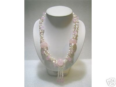 LONG 3ROWS CULTURED PEARL PINK JADE 925s Necklace