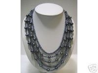 LONG 5ROWS BLACK CULTURED PEARL 925S Necklace
