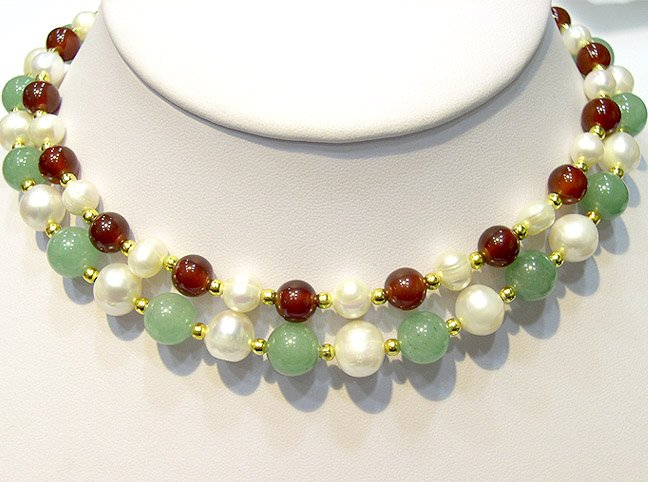 Luxcious 2rows pearl jade and agate bead necklace