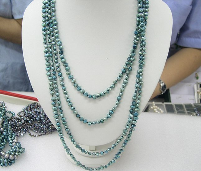 Long 62'' Single Blue Genuine Cultured Pearl Necklace