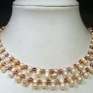 RARE 2rows 16-17'' FW Cultured Pearl & crystal Necklace