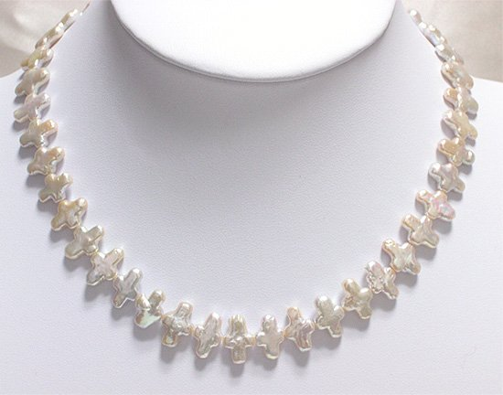 RARE 5-15MM Latin Cross CULTURED PEARL NECKLACE 925