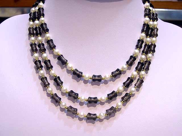 Rare 3rows Crystal & Cultured Pearl NECKLACE 925s