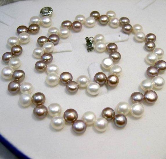 SINGLE WHITE PURPLE GENUINE CULTURED PEARL Necklace