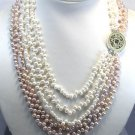 STUNNING 5ROW WHITE LAVENDER CULTURED PEARL NECKLACE