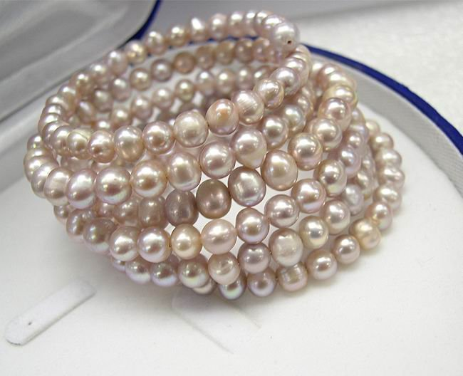 STUNNING 6Rows LAVENDER Cultured Pearl Bracelet