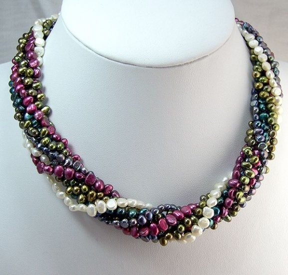 STUNNING 8rows Multicolor Cultured Pearl Necklace 925s