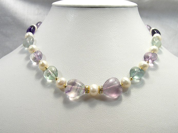 STUNNING GENUINE PEARL FLUORITE STONE HEART NECKLACE
