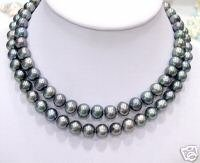 SUPERB 33'' 9-10MM BLACK FW PEARL Necklace 925
