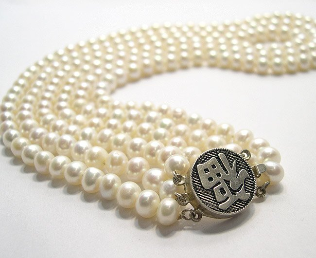 SUPERB 3ROWS GENUINE CULTURED PEARL Necklace 925S