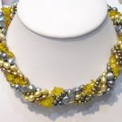SUPERB 5ROWS CULTURED PEARL&GEMS NECKLACE