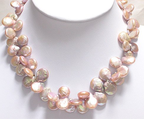 SUPERB 12mm-16mm CULTURED PEARL NECKLACE 925S
