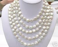 SUPERB HUGE 12-13MM 5ROWS COIN WHITE PEARL NECKLACE 925
