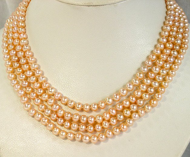 Superb 4rows PINK Genuine FW Pearl Necklace 925S
