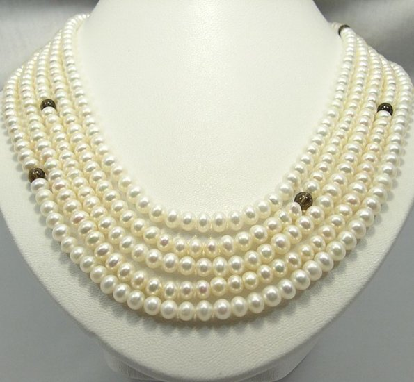 UNIQUE 108'' High Luster Cultured Pearl Crystal Necklace