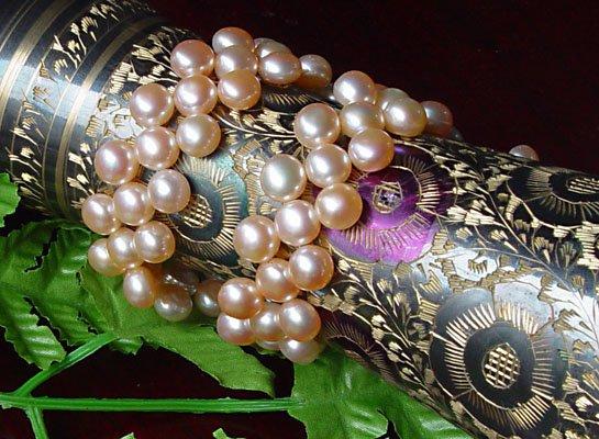 UNIQUE 2-PCS PINK Genuine Cultured Pearl Bracelets
