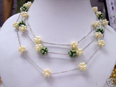Unique 16'' white or green pearl ball Necklace